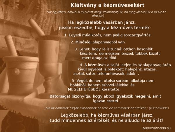 kiáltvány a kézművesekért
